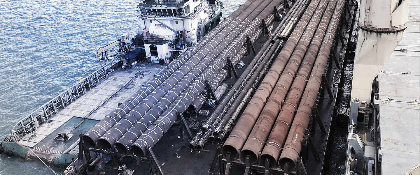 Stored pipes on a freighter