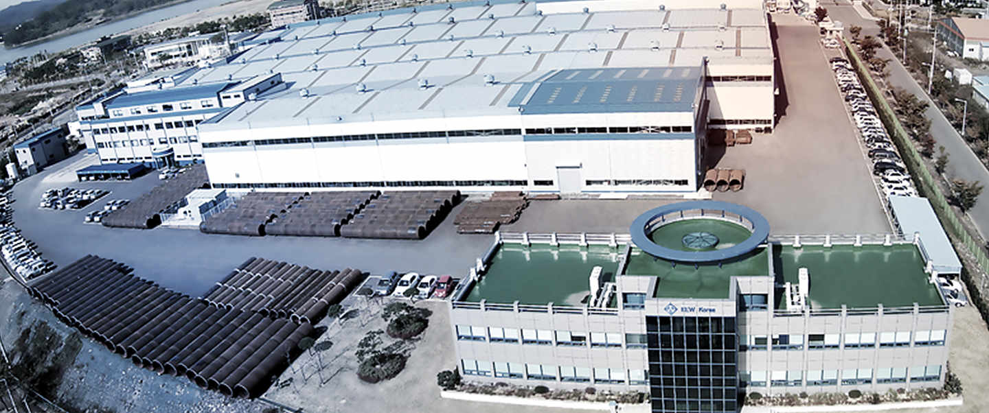 Aerial view of the industiral hall in korea