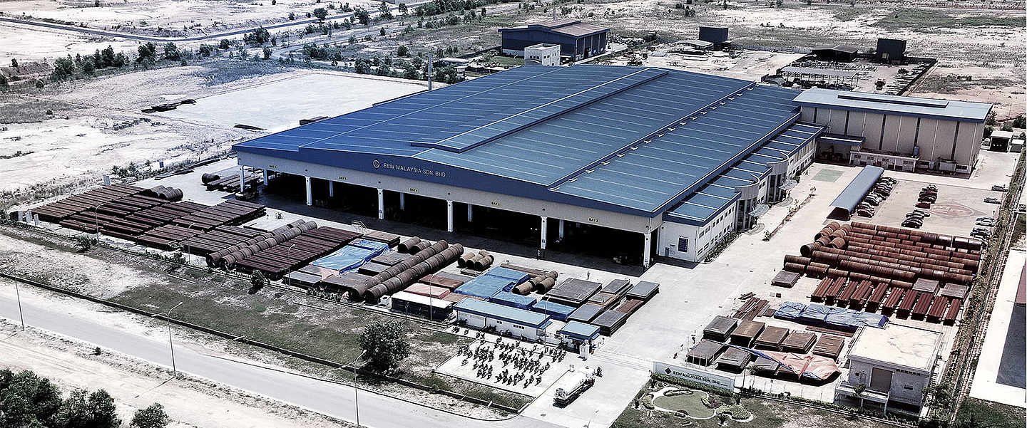 Aerial view of the industrial hall in malaysia