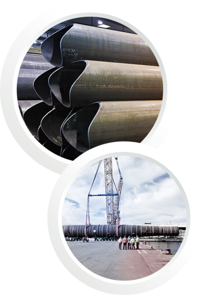 Two pictures in one: The first picture shows some steel pipe components and the second one shows installing a pipe with a crane