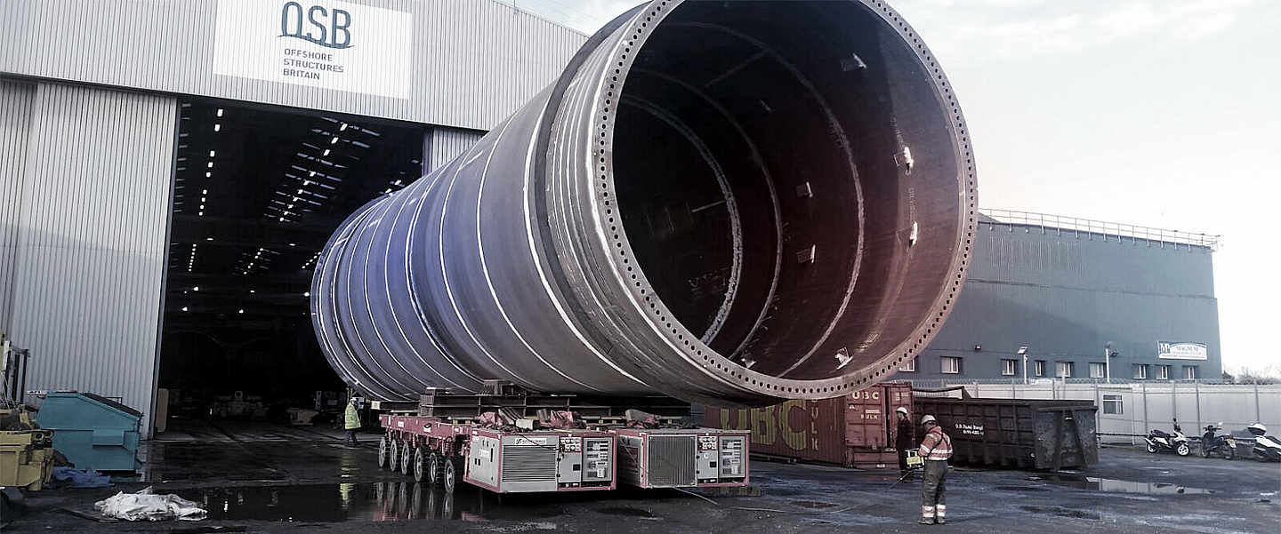 A big pipe laid on side for transport
