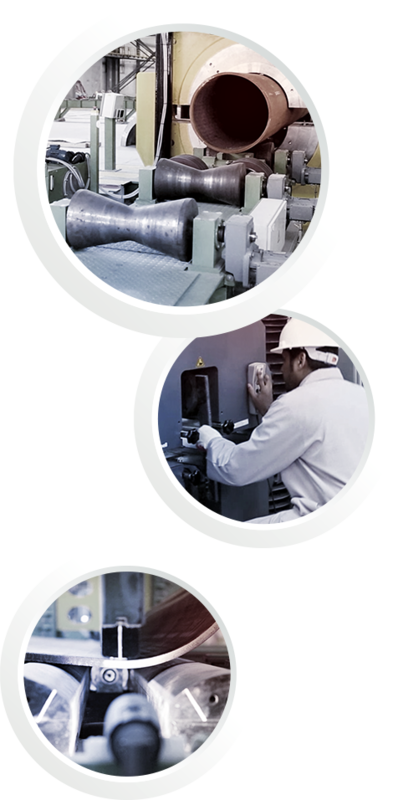 Three pictures in one: The first picture shows a part of the production chain. The second picture shows the in-house laboratory. The last picture shows the bending process of pipes