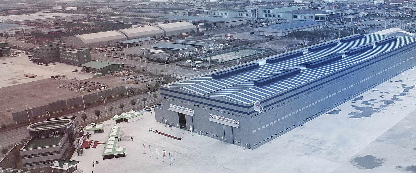 Aerial view of the korean industrial hall