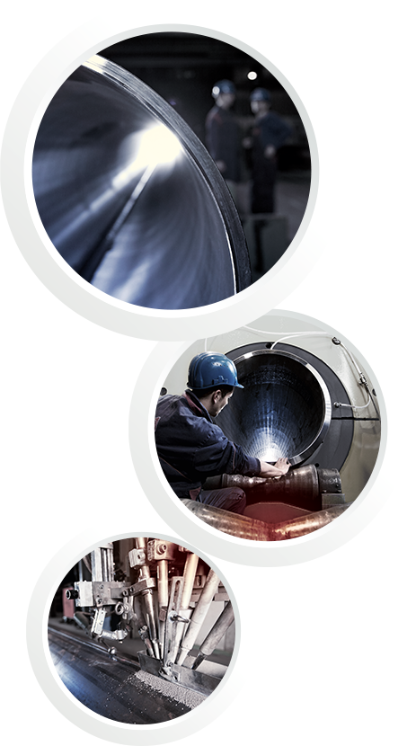 Three pictures in one: The first picture shows a close up of a pipe. The second picture shows a worker with helmet at COMPipe and the third one shows a welding robot
