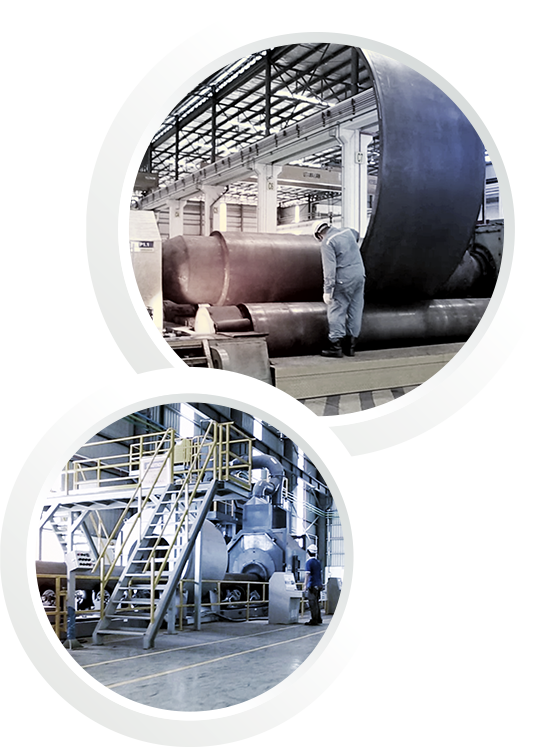 Two pictures in one: A bending machine for pipe manufacturing and a coating facility