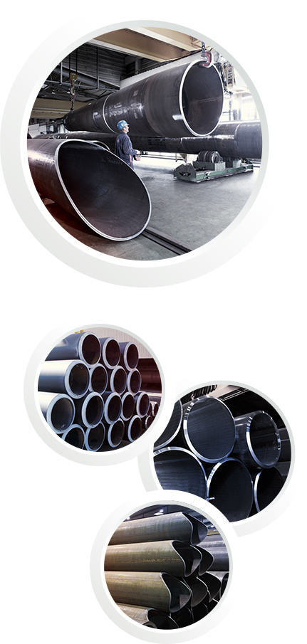 Four pictures in one: All of them showing pipes in different sizes
