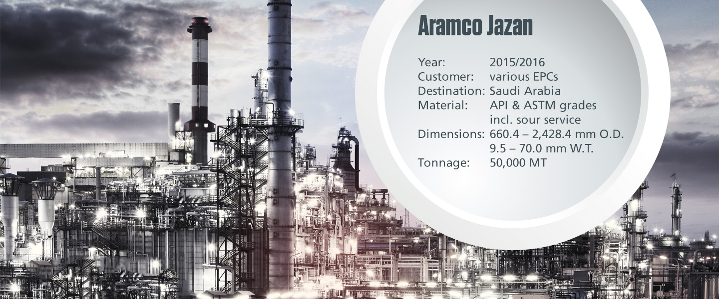 Onshore process pipe project Aramco Jazan with technical specifications