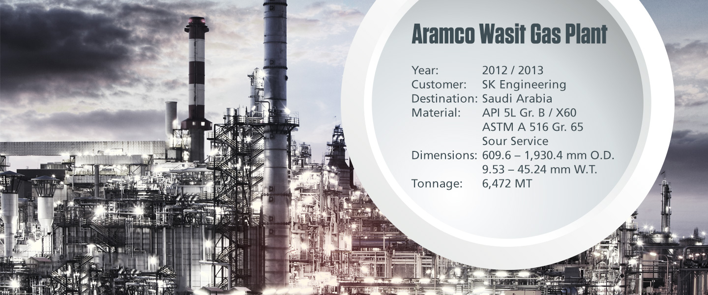 Onshore process pipe project Aramco Wasit Gas Plant with technical specifications