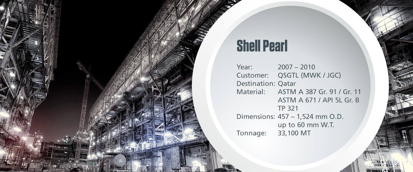 Onshore process pipe project Shell Pearl with technical specifications