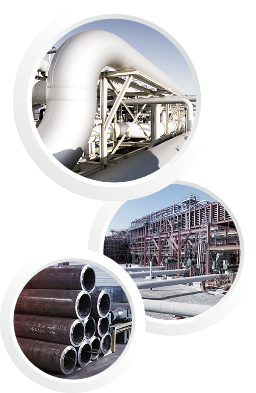 Three pictures in one showing two pipelines and stored pipes