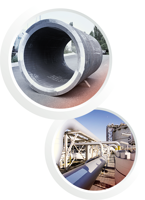 Two pictures in one: The first one shows a saw pipe. The second picture shows a pipeline in a power plant
