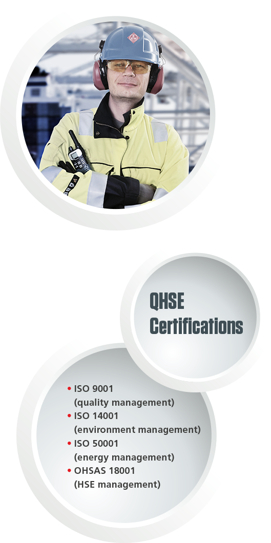 Employee with EEW workwear and the QHSE Certifications list