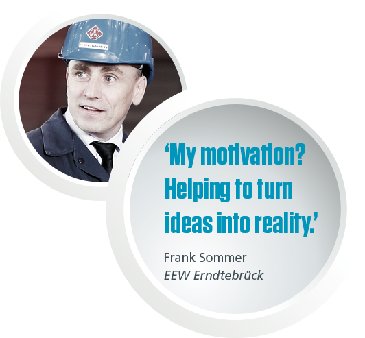 "Picture and quote from Frank Sommer saying:""My motivation? Helping to turn ideas into reality."""